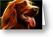 Dog Portrait Digital Art Greeting Cards - Electrifying Dog Portrait Greeting Card by Pamela Johnson