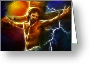 Good Friday Digital Art Greeting Cards - Electrifying Jesus Crucifixion Greeting Card by Pamela Johnson