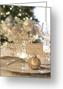 Glowing Star Greeting Cards - Elegant holiday dinner table with focus on place card Greeting Card by Sandra Cunningham