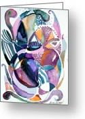 Abstract Design Drawings Greeting Cards - Elegant Lunacy Greeting Card by Mindy Newman