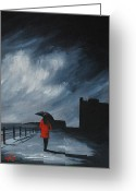 Monotone Painting Greeting Cards - Elegant walk Greeting Card by J P  McLaughlin