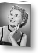 Hand On Chin Greeting Cards - Elegant Woman Posing In Studio, (b&w), Portrait Greeting Card by George Marks