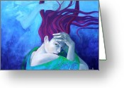 Waves Painting Greeting Cards - Elegy Greeting Card by Dorina  Costras