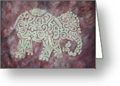 Earth Tones Greeting Cards - Elephant - Animal Series Greeting Card by Jennifer Kelly