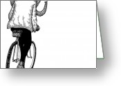 Wildlife Drawings Greeting Cards - Elephant Bike Rider Greeting Card by Karl Addison