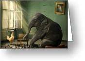 Game Animals Photo Greeting Cards - Elephant Chess Greeting Card by Ethiriel  Photography