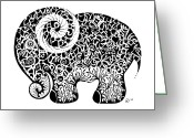 Tribal Drawings Greeting Cards - Elephant Doodle Greeting Card by Jakki Oakes