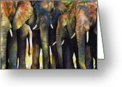 Paul Greeting Cards - Elephant Herd Greeting Card by Paul Dene Marlor