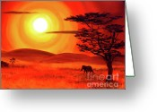 Laura Milnor Iverson Greeting Cards - Elephant in a Bright Sunset Greeting Card by Laura Iverson
