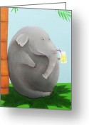 Cartoon Elephant Illustration Greeting Cards - Elephant in the Shade Greeting Card by Lael Borduin
