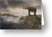 Sausalito Greeting Cards - Elephant On The Edge Of A Cliff Greeting Card by John Lund