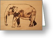 Drawing Pyrography Greeting Cards - Elephant Pyrograph Greeting Card by Jeremy Cardenas