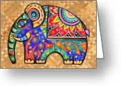 Colourful Tapestries - Textiles Greeting Cards - Elephant  Greeting Card by Samadhi Rajakarunanayake