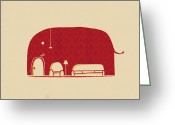 Animal Greeting Cards - Elephanticus Roomious Greeting Card by Budi Satria Kwan
