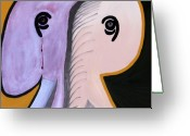 African Animals Painting Greeting Cards - Elephants Are Gray - SOLD Greeting Card by Paul Anderson
