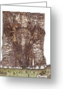 Elephant Pyrography Greeting Cards - Elephants Greeting Card by Clarence Butch Martin
