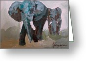 Signed Greeting Cards - Elephants Gentle Giants Greeting Card by Patricia Awapara
