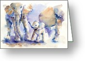 Elephant Watercolor Greeting Cards - Elephants Greeting Card by Tania Vasylenko