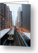 Railroad Track Greeting Cards - Elevated Commuter Train In Chicago Loop Greeting Card by Photo by John Crouch