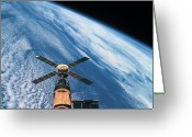Space.planet Greeting Cards - Elevated View Of A Satellite Orbiting In Space Greeting Card by Stockbyte