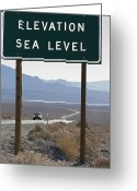 Desolate Landscapes Greeting Cards - Elevation Sea Level Sign And Highway Greeting Card by Rich Reid