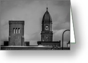 Lewiston Greeting Cards - Eleven Twenty Says The Clock In The Tower Greeting Card by Bob Orsillo