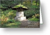Wolfman Greeting Cards - Elf Mushroom House Greeting Card by Chris Murphy Elliott
