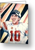 Eli Manning Greeting Cards - Eli Manning Greeting Card by Brian Degnon