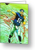 Eli Manning Greeting Cards - Eli Manning Greeting Card by Jeanette Jarmon