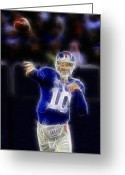 Eli Manning Greeting Cards - Eli Manning Greeting Card by Paul Ward
