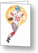 Eli Manning Greeting Cards - Eli Manning Superbowl XLVI MVP Greeting Card by Paul McRae