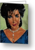 Icon  Pastels Greeting Cards - Elizabeth Taylor and La Paragrina Pearl Greeting Card by Jeffrey J Steinberg