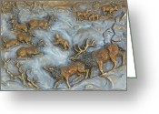 Winter Trees Reliefs Greeting Cards - Elk and Bobcat in Winter Greeting Card by Dawn Senior-Trask