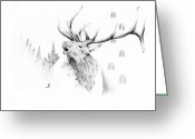 White Feather Greeting Cards - Elk Bugle Greeting Card by Robert Martinez