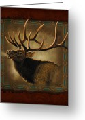 Western Trees Greeting Cards - Elk Lodge Greeting Card by JQ Licensing