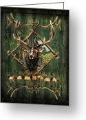 Antlers Greeting Cards - Elk Lodge Greeting Card by JQ Licensing