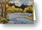 Location Art Greeting Cards - Elk River Fall Steamboat Springs Colorado Greeting Card by Zanobia Shalks