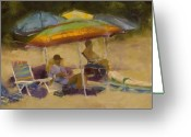Umbrellas Greeting Cards - Elkins South Beach Greeting Card by David Patterson