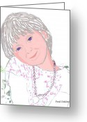 Happy Texas Artist Greeting Cards - Ella portrait Greeting Card by Fred Jinkins