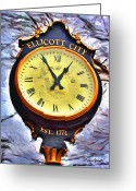 Trolley Greeting Cards - Ellicott City Clock Greeting Card by Stephen Younts