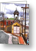 Ellicott Greeting Cards - Ellicott City Fire Museum Greeting Card by Stephen Younts