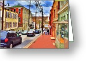Ellicott Greeting Cards - Ellicott City Sidewalk Greeting Card by Stephen Younts