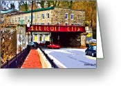 Streets Digital Art Greeting Cards - Ellicott City Greeting Card by Stephen Younts
