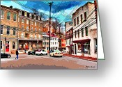 Ellicott Greeting Cards - Ellicott City Streets Greeting Card by Stephen Younts