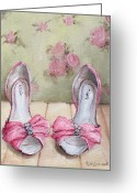 Chic Painting Greeting Cards - Ellies Pink Shoes Greeting Card by Gail McCormack