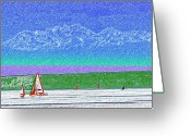 Washington Pastels Greeting Cards - Elliott Bay Sail Greeting Card by Tim Allen