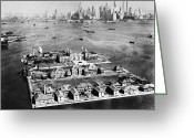 Birds Eye View Greeting Cards - Ellis Island, 1933 Greeting Card by Granger