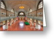 Great Hall Greeting Cards - Ellis Island Registry Room II Greeting Card by Clarence Holmes