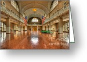 Great Hall Greeting Cards - Ellis Island Registry Room III Greeting Card by Clarence Holmes