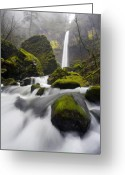 Waterfall Greeting Cards - Elowah Greeting Card by Mike  Dawson